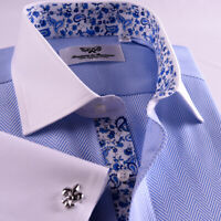 Unique Blue Herringbone With Floral InnerLining Business Shirt  Boss Mens Formal