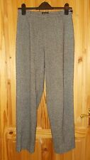 ZAPA black grey beige fleck tweed WOOL SILK winter tailored trousers 38 8-10