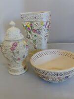 Vintage Ceramic Intricate Floral Design, Vase Urn, Floral Bowl & Vase