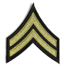 Embroidered Corporal Chevron Black Yellow/Gold Sew or Iron on Patch Biker Patch