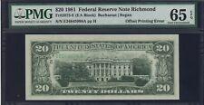 $20 1981 Overprint Offset on Reverse Error / Misprint Pmg Gem Unc 65 Epq