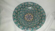 Incredible Huge Vintage Pottery Bowl w/ Star Floral Teal Turquoise 11 3/4x 3 1/4