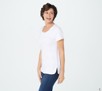 Isaac Mizrahi Live! Essentials Pima Cotton Scoop-Neck T-Shirt, Bright White,XXS,