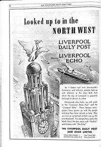 Original Vintage 1950s Liverpool Echo Advert - Newspaper Press Directory 1951