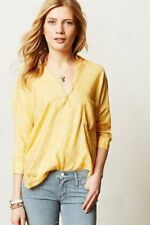 Anthropologie Holding Horses Yellow Plaid Wrap Top Shirt 4 Petite EUC