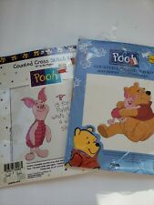 Lot of 2 New Winnie the Pooh Piglet Counted Cross Stitch Kits Crafts