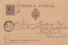 Spain Huelva 1893 Postal Stationery Card to Montreal Canada Rate 10c