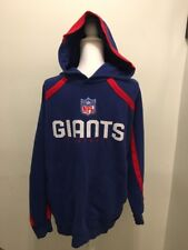 Reebok NFL NY Giants Hooded Sweatshirt With Pockets Long Sleeve Blue Red Size XL