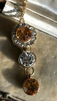 Vintage 1980s Gold Plated Swarovski Crystal Drop Necklace