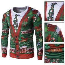 Men Xmas Floral 3D Printed Long Sleeve Warm Cotton T-shirts Cardigan W/Fake Tie