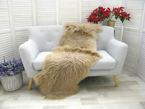 Real ICELANDIC Curly DOUBLE Sheepskin Rug Hide Beige Dyed Sofa FLOOR Cover D33