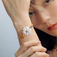 Gold Daisy Bangle Chain Flower Bee Animal Adjustable Bracelet Women Jewelry Gift