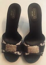 COACH Women's Heels Illisa 7M  37.5 Black White Platform Shoes Slides C Logo
