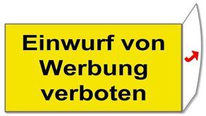 Einwurf von Werbung verboten-Briefkasten-Schild-60x30 mm-Türschild-Folienschild