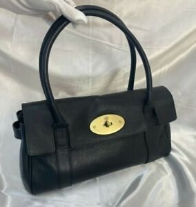 Mulberry East West Bayswater Bag Handbag Black Grained Leather