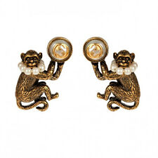 NEW GUCCI Brass & GLASS PEARL effect Women's MONKEY GG Pierced EARRINGS NIB