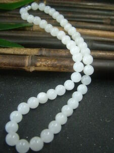 Antique Chinese Nephrite Celadon Hetian WHITE Jade 10mm Beads Necklace Pendants