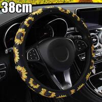 38cm Car Vehicle DIY Leather Sunflower Steering Wheel Cover Anti-slip Protector