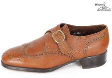VTG 70s Florsheim Wingtip Monk Strap Brown Leather Dress Shoes Sz. 8 D