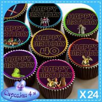 24 X 40TH HAPPY BIRTHDAY STAR WARS CUPCAKE TOPPERS EDIBLE CAKE RICE PAPER CC0359