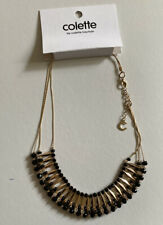 Black Bead Necklace Gold