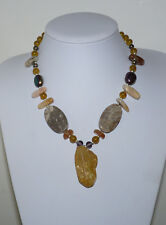 Beautiful Multi-stones Necklace. Fossil Coral, Agate, Amber & Amethyst Glass.