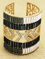 Gold Black White and Clear Bangle