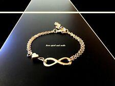 Damen Infinity Armkette Farbe Gold Armband Eternity Unendlichkeit Herz Partner