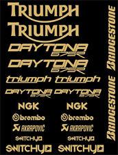 KIT ADESIVI GRAFICHE STICKERS MOTO SPONSOR GOLD CARENE TRIUMPH DAYTONA 675 675R
