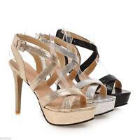 Fashion Women's Platform Pumps Ankle Strap Sandals High Heels Slingback Shoes Sz