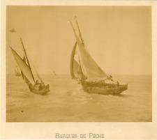 France, Barques de Pêche  Vintage albumen print.  Tirage albuminé  22x28