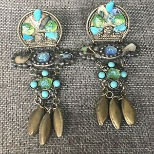 Chunky Pot Metal Turquoise Stone Bead Accent Clip On Earrings Southwestern