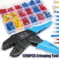 Ratchet Crimper Plier Tool +1200x Connector Electrical Wire Crimp Terminals Set