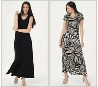 Attitudes by Renee Petite Como Jersey Set of 2 Maxi Dress Black/Safari Size XL