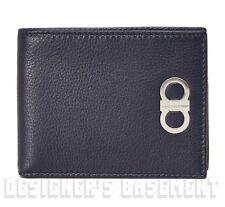 SALVATORE FERRAGAMO blue pebbled Leather Double GANCINI Logo wallet NIB Authentc