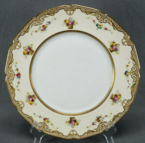 Royal Doulton Hand Painted Floral Garlands Baskets & Raised Gold 10 3/8 Plate