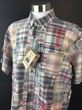 Tailor Vintage Shirt Size Large Mens Indian Madras Patchwork Handwoven NWT B27
