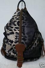 Damen Rucksack Flugbegleiter Bagpack Leopard Animalprint Leder schwarz NEU