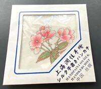 "Vintage Japanese Silk Handkerchief Hand Painted Pink Flowers 10"" Square"