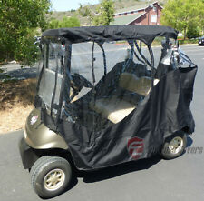 2 Seater Golf Cart Driving Enclosure, Fits E Z GO, Club Car and Yamaha G. Black