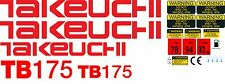 TAKEUCHI TB175 MINI DIGGER COMPLETE DECAL SET WITH SAFETY WARNING SIGNS