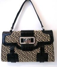 GUESS Handbag Black Signature Clutch Envelope With Patent Leather and Rhinestone