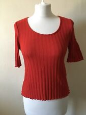 Topshop Red Ribbed Short Sleeve Top Size 10 1990s Grunge