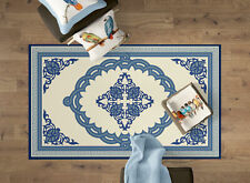 Transitional Living Room Area Rug with Nonslip Backing, Blue Medallion Pattern