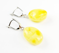 Real Natural Baltic Amber Butterscotch Drop Earrings 925 Silver Sterling Gift