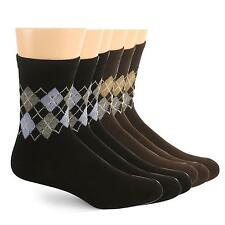 Men's Teens 6 Pairs Argyle Plaid Crew Cut Dark Color Dress Casual Shoe Socks #A