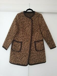 M&S COLLECTION Leopard Print Coat Size 12 Animal Jacket A-line Swing Rockabilly