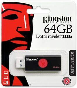 Kingston DT106/64GB USB 3.0 DataTraveler 106 Flash Drive Type-A USB Memory Stick