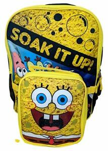 """Spongebob Soak It Up 16"""" School Backpack with Insulated Lunch Box - 2 Piece Set"""