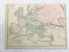 1877 Antique Map of Europe Old European Political Hand Coloured 19th Century